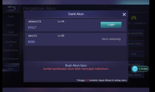 Mobile Legends Sultan Max 2ML dalam Satu Akun Allunbind