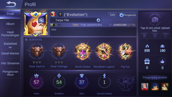 Mobile Legends Max Hero57 Skin37 Aman Murah SultanMantap