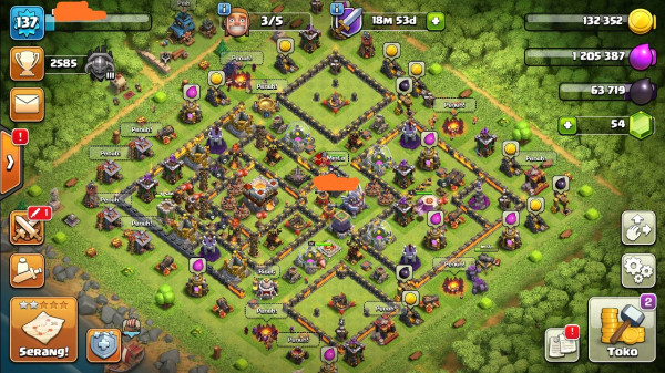 Clash of clans townhall 11 Supermax Aman Banget Puas