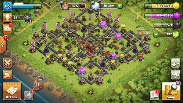 TH10 Level 115 King 18 Queen 16 Gems 397
