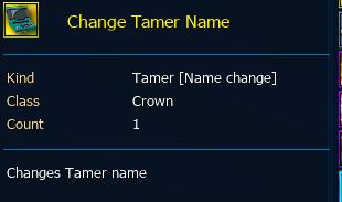 Change Tamer Name