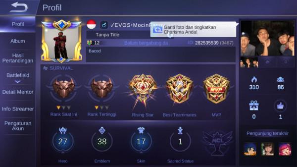 Mobile Legends max hero27 skin17 skinSL banyak