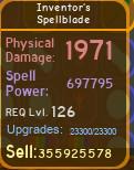 Inventor's Spellblade [697K][MAX][DUNGEON QUEST]