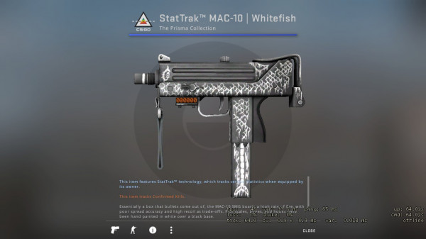 StatTrak™ MAC-10 | Whitefish (MW)