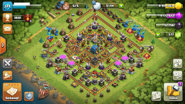 Town Hall 12 Deff Mantep Hero 36-38-20