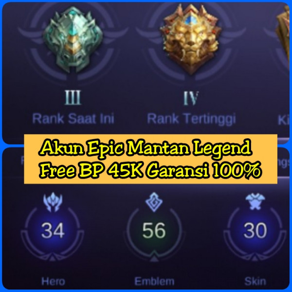 Akun ML Mantan Legend Murah 100%Aman
