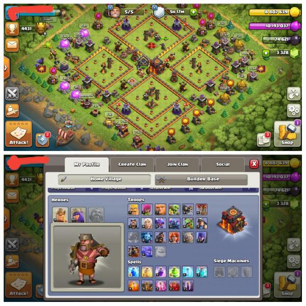 Town Hall 10 Max|Gem 3000|Lv Hero 32/33/3 GG