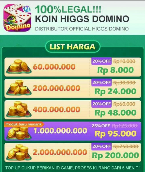 Official Koin chip Higgs Domino Island 400M