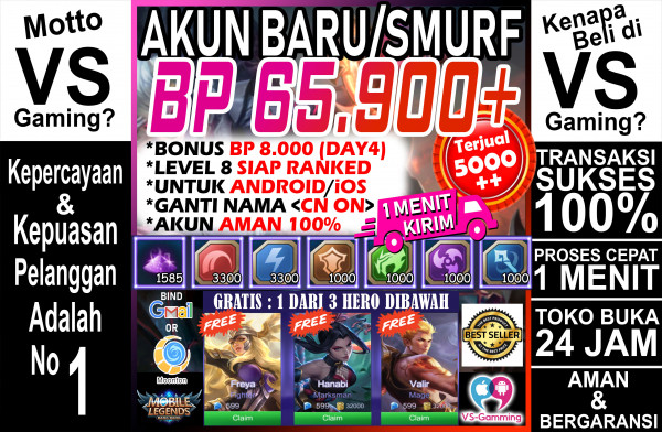 Akun Sultan BP 65.000++, Hero Epic, Emblem Jozz..!