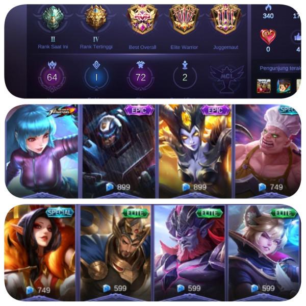 Akun Mobile Legend ( Sultan, Hero + Skin Banyak )