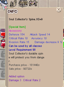 Soul Collector's Spine XG+9 SCS