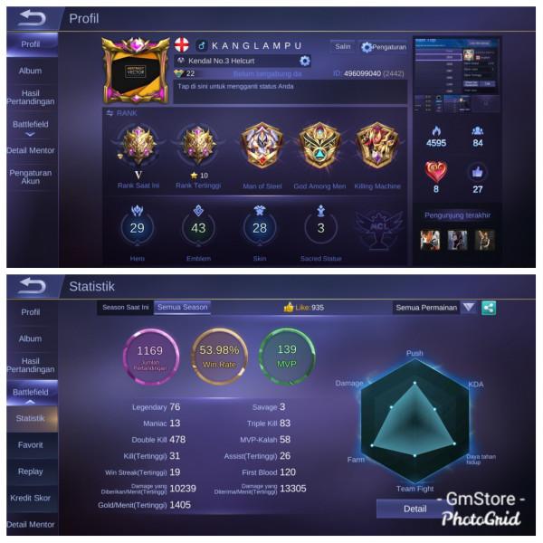 Akun MythicV|Starlight4,Epic1,Special2|Hero29 GG