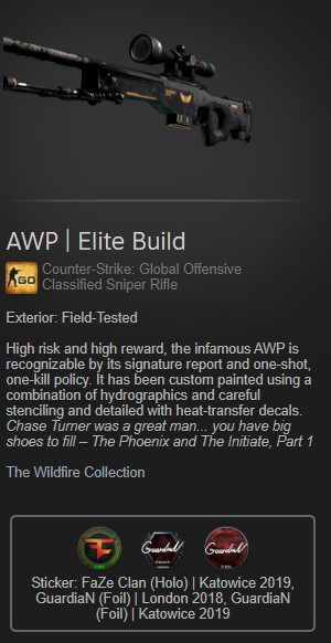 AWP | Elite Build FT with 3 stickers