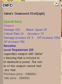 Sakiel Greatsword Zerk Berserker XG+9 hp6 aspd-3