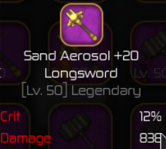Sand Aerosol Longsword +20 ( Swordburst 2 )