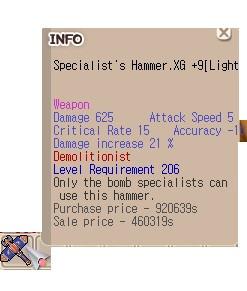 Specialist Hammer Demolition XG +9 Light