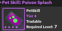 Pet skill ( Poison Splash ) - World Zero