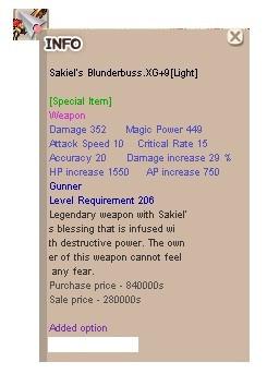 Sakiel Blunderbuss ( Gunner ) XG+9 LIght
