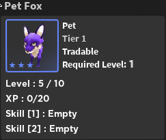 Pet Fox (Tier 3 ) - World zero