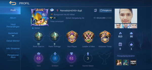 Akun ML hero61 Skin61 Sultan Bossque Allunbind MantapGaransi