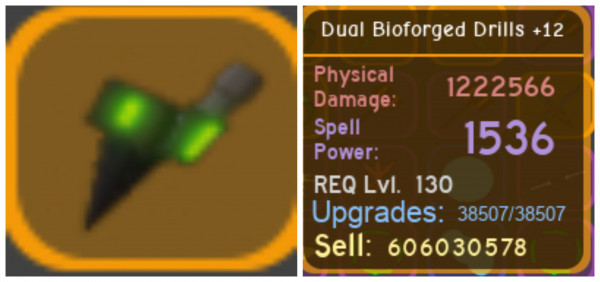 Dual Bioforged Drills +12 (Maxed) - Dungeon Quest