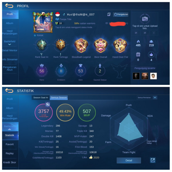 Emblem Max2|SL Zilong|Hero56|Skin53 Mantap