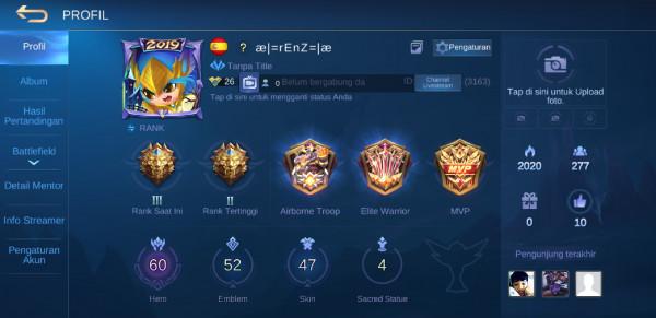 Akun Rank Legend(Hero+Skin Banyak+Skin Starlight)