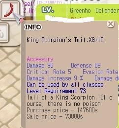 King Scorpion's Tail XG+10 KST+10 Clean