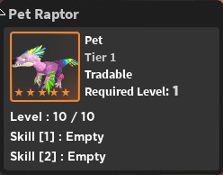 World Zero - Pet Raptor [ Tier 5 ]