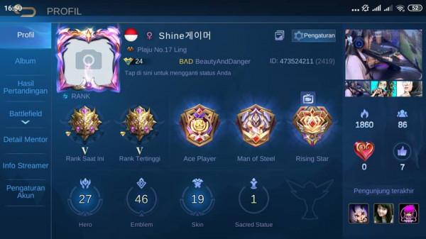 Akun pribadi tier myhtic V skin GG emblem max