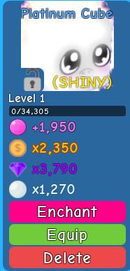 Shiny Platinum Cube ( Bubble Gum Simulator )