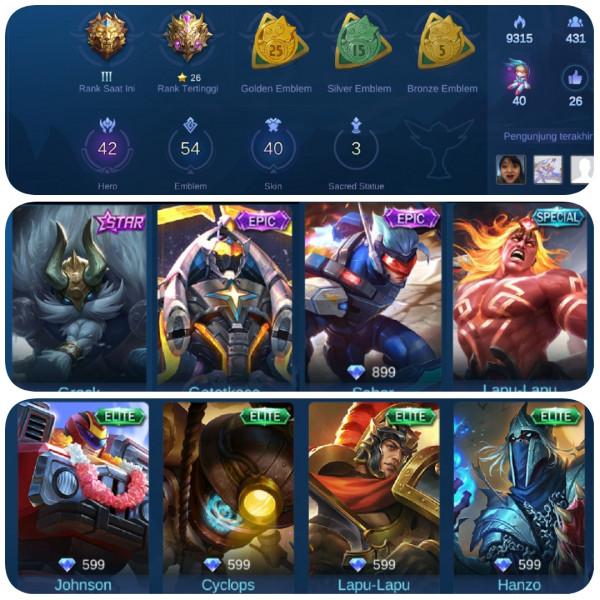 Akun Mobile Legends Skin Sultan + Epic Limited