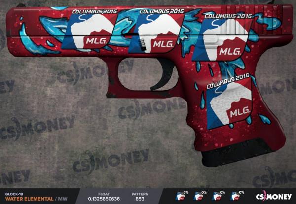 Glock-18   Water Elemental MW with 4 MLG'16 Sticks