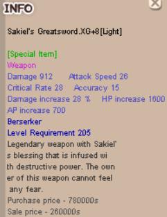 sakiel greatsword zerk berserker XG+8
