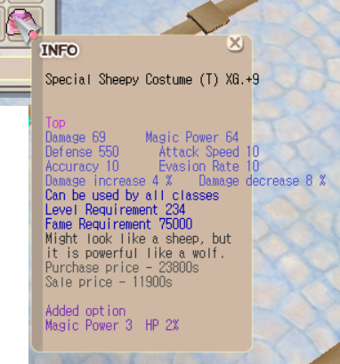 TnB Special Sheepy Costume XG+9 (Good Opt)