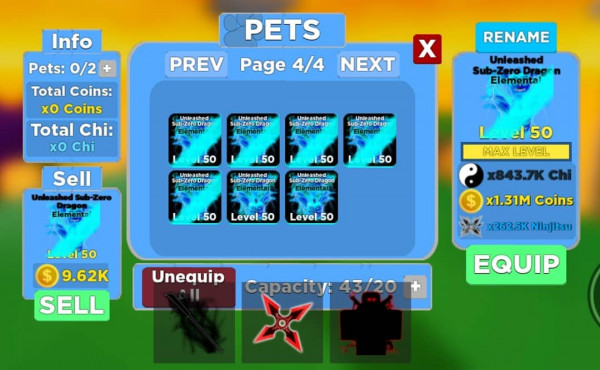 Pets Sub Zero Elemental Level Max Ninja Legends!