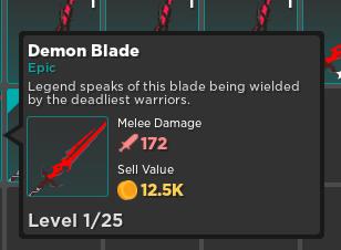 Demon Blade | warrior Weapon | Rumble Quest