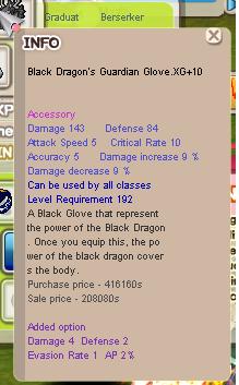 Black Dragon's Guardian Glove XG +10