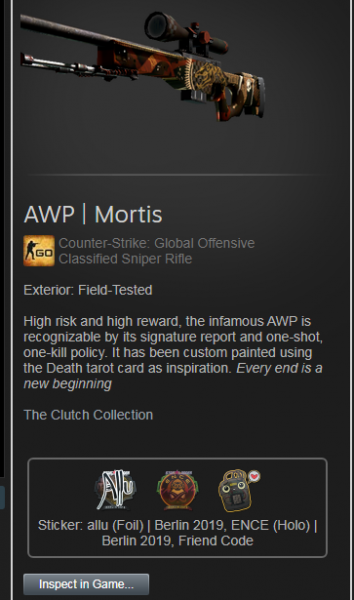 AWP | Mortis ( Classified Sniper Riffle )