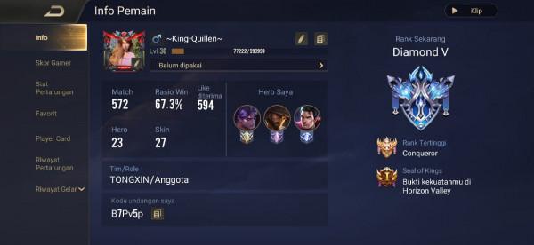 Akun AOV Hero 23 | SKIN 27 (LIMITED, LEGENDARY)