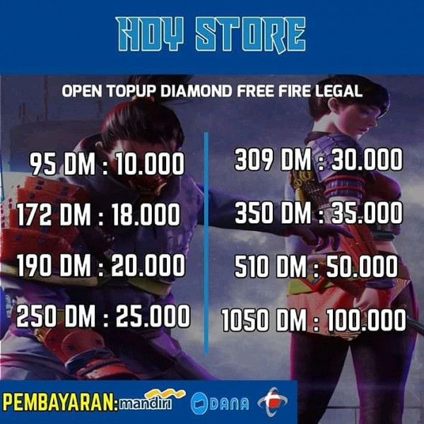 Diamond Free Fire legal via id 309 DM
