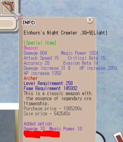 Einhorn Archer XG+9 (Dmg 10, Mpw 10, etc)