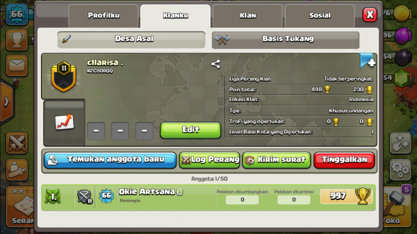 Clan Level 11 Cllarisa.