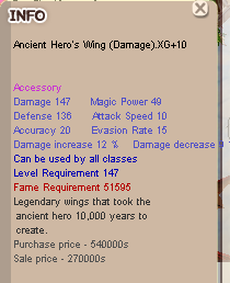 ANCIENT HERO'S WING DAMAGE(AHW)XG+10