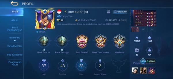 Akun ML hero37 skin28 allunbind aman Special