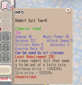 Rabbit Suit Top+8 Normal Unapp