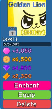 Shiny Golden Lion - Bubble Gum Simulator