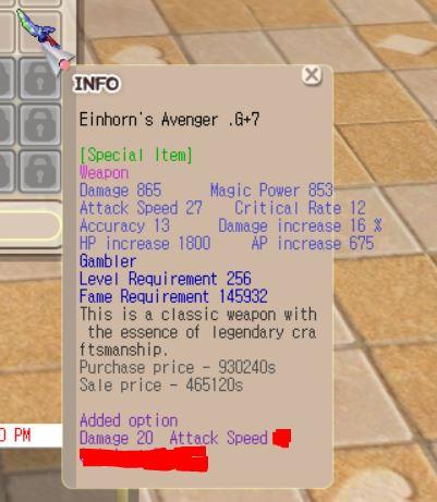 Einhorn Gambler G+7 (Dmg 20, Aspd, Crit)