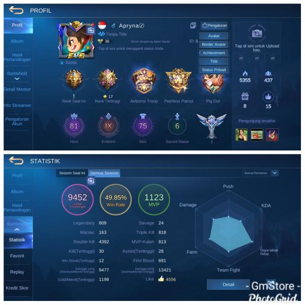 Emblem Max9|Hero81|Skin75|Tier Legend1 Mantap