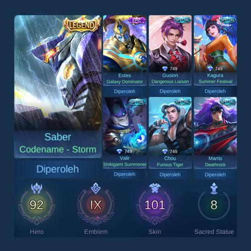 Akun Mobile Legends Sultan Hero + Skin Banyak